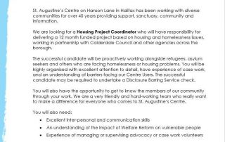 Housing Project Coordinator Job Description
