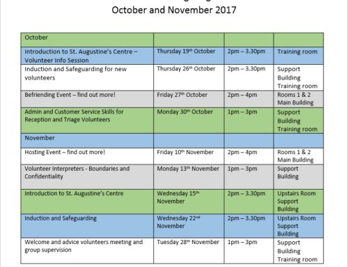 Volunteer Training Programme October and November 2017