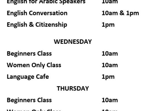 Updated English Class Timetable