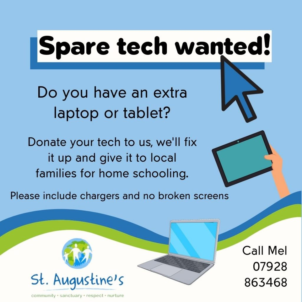 Spare tech wanted! Do you have an extra laptop or tablet? Donate your tech to us, we'll fix it up and give it to local families for home schooling. Please include chargers and no broken screens.
